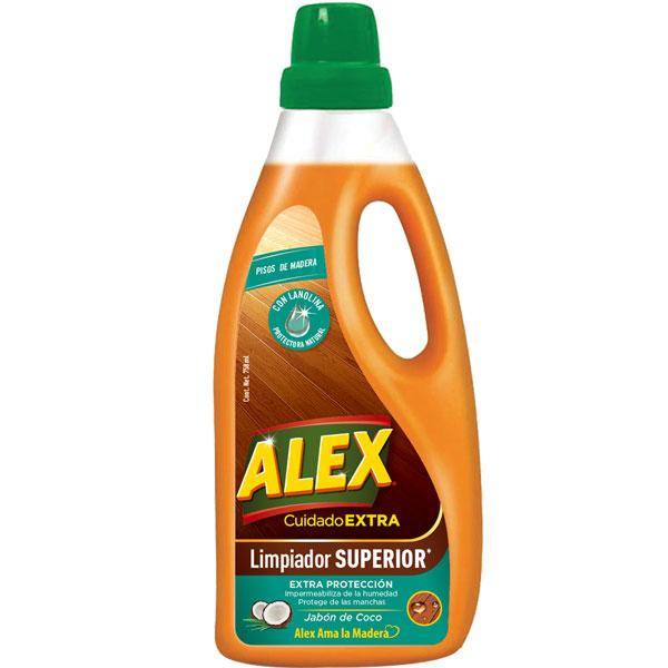 ALEX Super Cleaner for wood floors protects from humidity and stains. Its formula hydrates and protects the floor from wear, providing EXTRA PROTECTION.